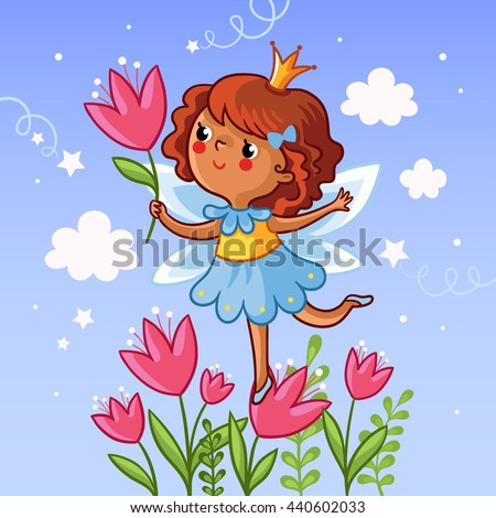 Stock Photo Cute little girl on a flower. The girl with a flower in her hand on the cloudy background. Vector illustration. Drawing on children theme. Little princess on a flower. Girl with tulips.