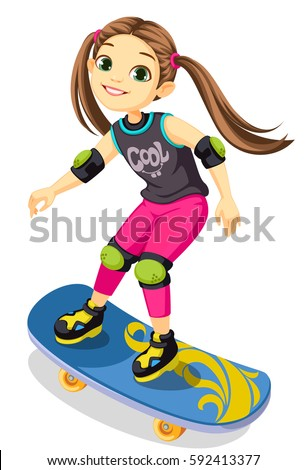 cute little girl on a skateboard