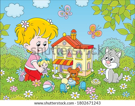 Cute little girl playing with a small doll, a bear, a rabbit and a toy house among flowers on a sunny summer day, vector cartoon illustration Stock photo ©