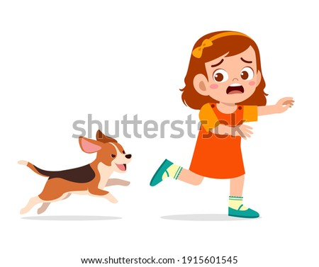 cute little girl scared because chased by bad dog Сток-фото ©
