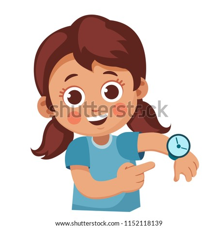 cute little girl showing her wrist watch. Happy child shows a time. Cartoon vector illustration Stockfoto ©