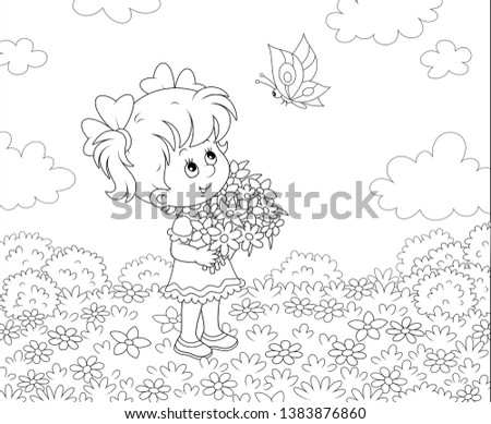 cute little girl with a bouquet