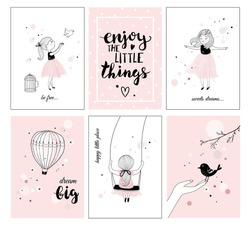 Cute little girl with bird and quotes,  posters for baby room, greeting cards, kids and baby t-shirts and wear, hand drawn nursery illustration