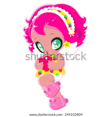 cute little girl with pink hair