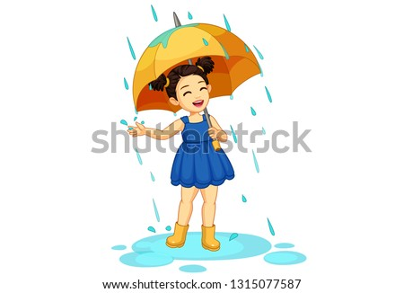 cute little girl with umbrella