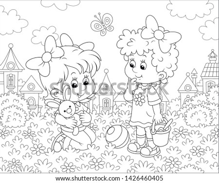 Cute little girls playing with a small toy rabbit among flowers on grass of a lawn against a background of houses of a small town, black and white vector illustration in a cartoon style Stock photo ©