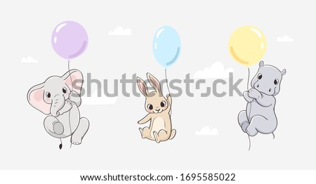 Cute little hand drawn animals vector illustration set. Elephant, rabbit and hippo fly on balloons. Use for print, kids wear fashion design, baby shower invitation, birthday card, poster, nursery