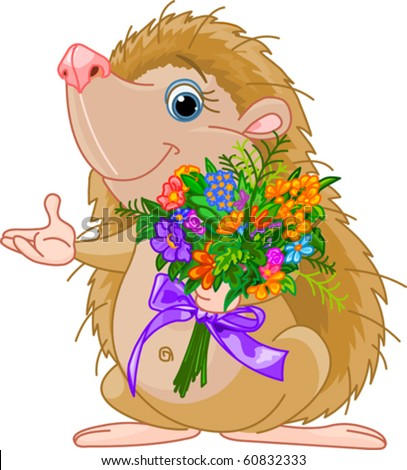 Cute little Hedgehog  giving a bouquet and pointing - stock vector