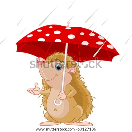 Cute little Hedgehog under umbrella presenting