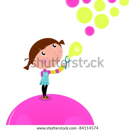 Cute little Kid blowing Soap bubbles isolated on white Lovely little Girl blowing Soap bubbles in the Air. Vector cartoon Illustration.