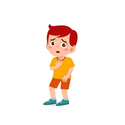 cute little kid boy show worry and scared pose expression