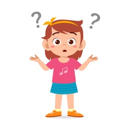 cute little kid girl confused with question mark