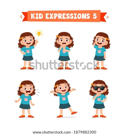 cute little kid girl in various expressions and gesture set Foto stock ©