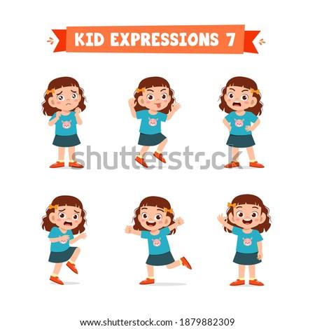 cute little kid girl in various