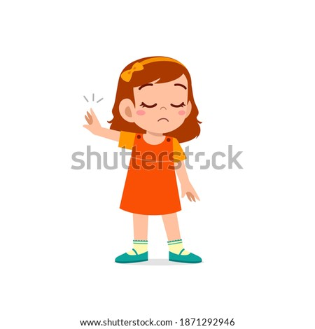cute little kid girl show refuse expression gesture Photo stock ©