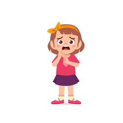 cute little kid girl show worry and scared pose expression