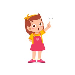 cute little kid girl thinking and has an idea face expression gesture