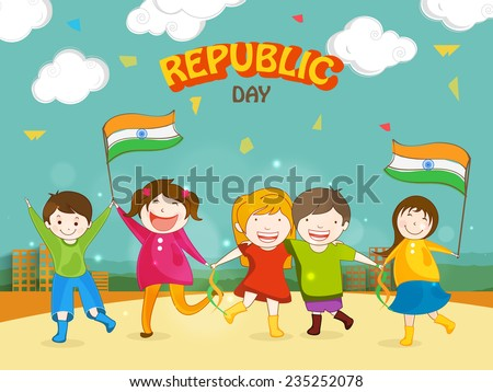Cute little kids celebrating Happy Indian Republic Day with Indian National Flags on urban background
