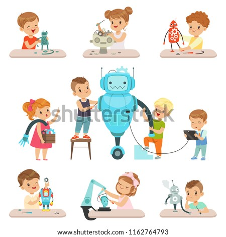 Cute little kids programming and creating smart robots set, educational project concept for children vector Illustrations on a white background