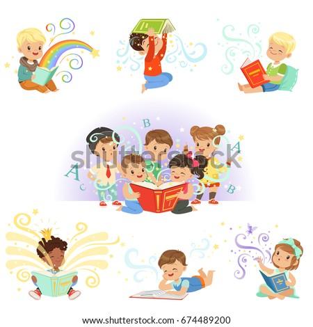 cute little kids reading fairy