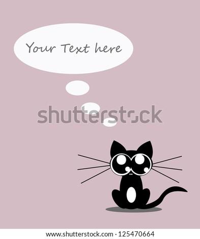 Cute little kitten with bubble speech