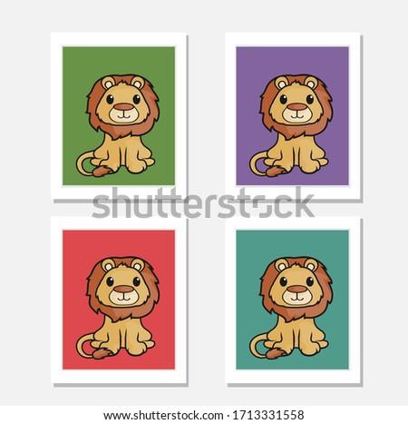 cute little lion  nursery art