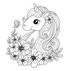 Cute little magical unicorn surrounded by flowers and butterflies. Black and white image for coloring. Suitable for prints, posters, postcards, tattoos, coloring books, etc. Vector