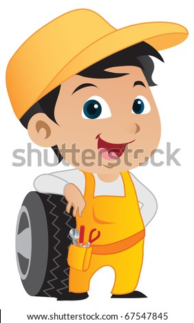 Cute little mechanic boy leaning against a car's tire.