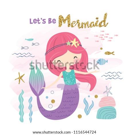 Cute little mermaid and marine life cartoon
