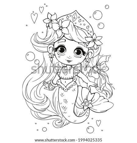 cute little mermaid with crown