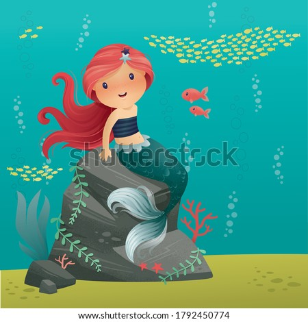 cute little mermaid with long