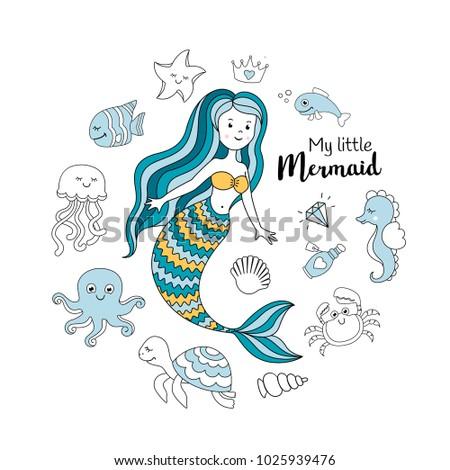 cute little mermaid with sea