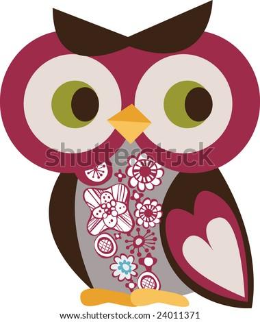 cute little owl - stock vector