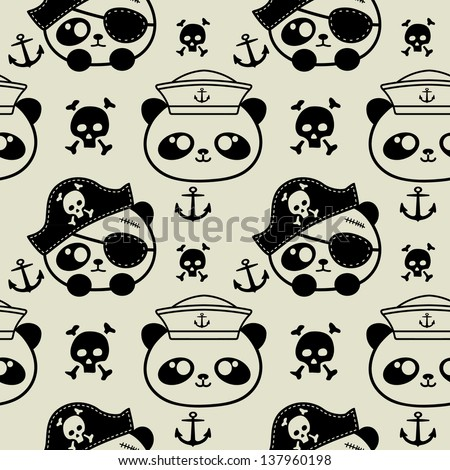 cute little panda sailors and pirate seamless - stock vector