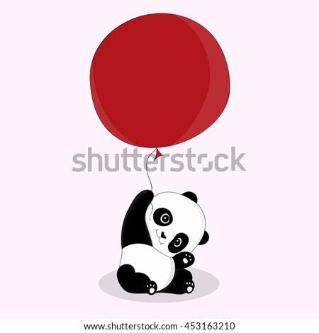cute little panda with red air