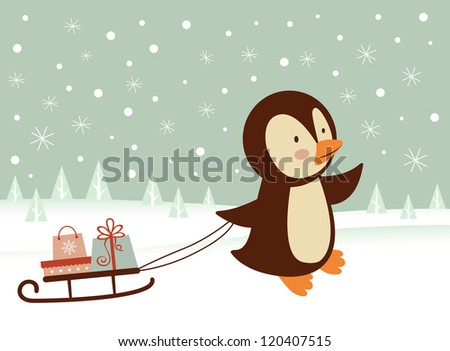 Cute little penguin bringing a sledge  with presents