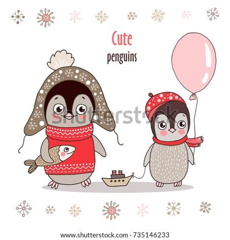 cute little penguin in warm