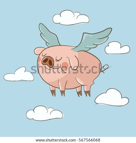 cute little pig flying in the