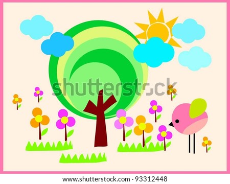 cute little pink bird tree and beautiful sunshine