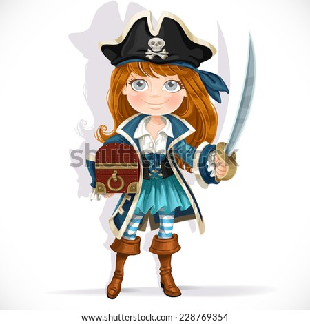 cute little pirate girl with