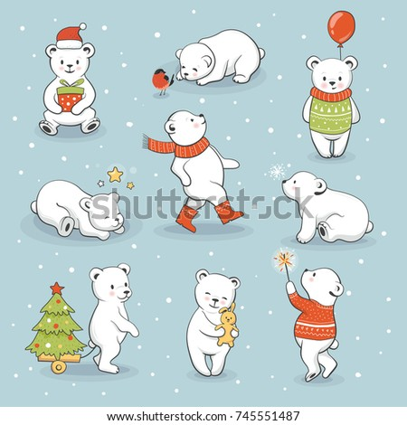 Cute little polar bear set with winter and holiday accessories. Funny animals celebrate New Year and Christmas. Vector illustration, hand drawn style.
