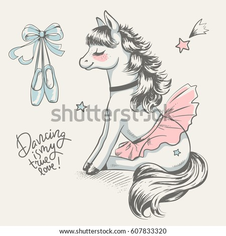 Cute little pony ballerina cartoon hand drawn vector illustration. Can be used for baby t-shirt print, fashion print design, kids wear, baby shower celebration greeting and invitation card.