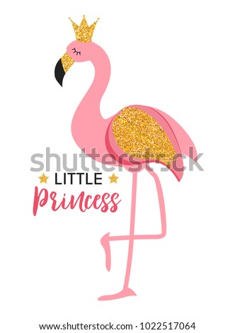 Cute Little Princess Abstract  Background with Pink Flamingo Vector Illustration EPS10
