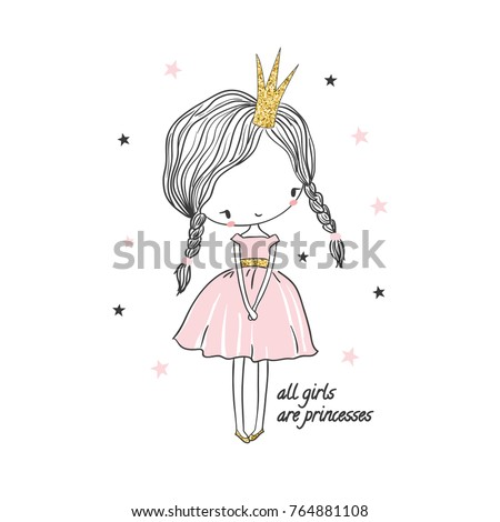 Cute little princess girl. Fashion illustration for kids clothing. Use for print, surface design, fashion wear