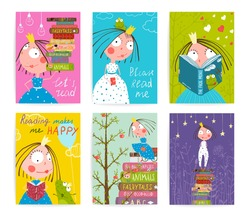 Cute Little Princess Kids Reading Fairy Tale Books Library Poster Collection. Colorful cute girl cards big bundle with a sign for a little child about reading literature. Vector illustration.