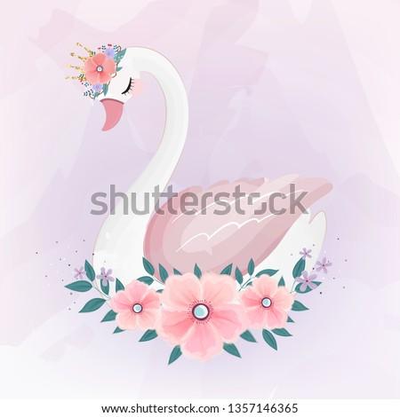 cute Little Princess Swan with Flower bouquet.