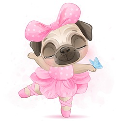 Cute little pug with ballerina