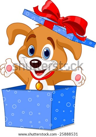 Cute little puppy jumping out from a gift box