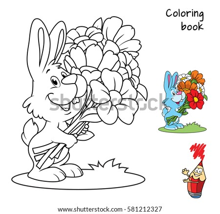 Cute little rabbit with a bouquet of flowers. Coloring book. Cartoon vector illustration