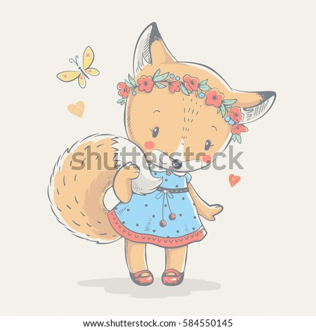Cute little red fox in blue dress cartoon hand drawn vector illustration. Can be used for baby t-shirt print, fashion print design, kids wear, shower celebration greeting and invitation card.